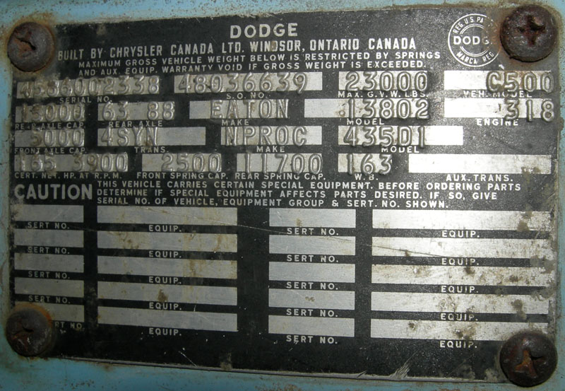 1933 to 1980 Canadian Built Dodge and Fargo Truck Serial